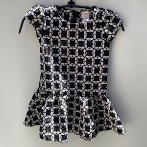 Gymboree Blushing Swan black white dress
